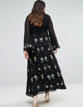 photo Embroidered Floral Maxi Dress with Fluted Sleeve by Frock and Frill Plus, color Black - Image 2