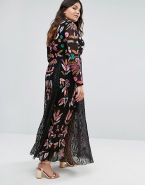 photo Embroidered Maxi Dress with Lace Insert by Frock and Frill Plus, color Black - Image 2