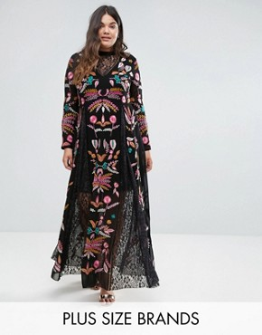 photo Embroidered Maxi Dress with Lace Insert by Frock and Frill Plus, color Black - Image 1