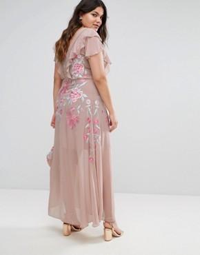 photo Rose Embellished MAxi Dress with Ruffle Sleeve by Frock and Frill Plus, color Pink - Image 2