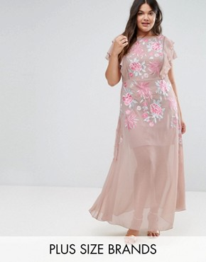 photo Rose Embellished MAxi Dress with Ruffle Sleeve by Frock and Frill Plus, color Pink - Image 1