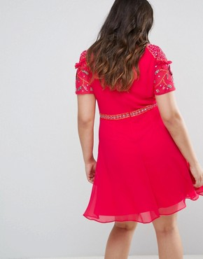 photo Embellished Skater Dress by Frock and Frill Plus, color Pink - Image 2