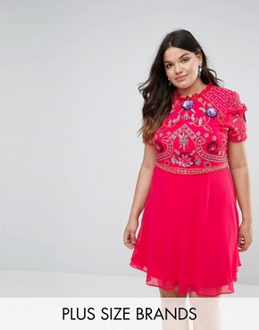 photo Embellished Skater Dress by Frock and Frill Plus, color Pink - Image 1