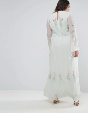 photo Embroidered Prairie Maxi Dress with Tie Detail by Frock and Frill Plus, color Green - Image 2