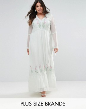 photo Embroidered Prairie Maxi Dress with Tie Detail by Frock and Frill Plus, color Green - Image 1