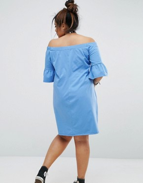 photo Bardot Shift Dress with Cross Detail by Pink Clove, color Blue - Image 2