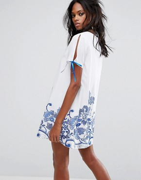 photo Festival Smock Dress with Floral Embroidery by Reclaimed Vintage Inspired, color White - Image 2