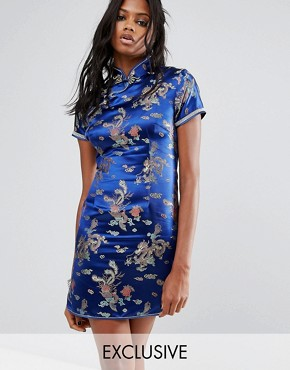 photo Mini Dress in Brocade with Diamante Trim by Reclaimed Vintage Inspired, color Blue - Image 1