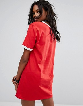 photo Festival Oversized T-Shirt Dress with Front Print by Reclaimed Vintage Inspired, color Red - Image 2