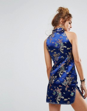 photo Sleeveless Mini Dress in Brocade by Reclaimed Vintage Inspired, color Blue - Image 2