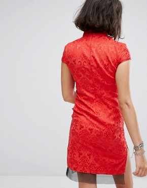 photo High Neck Dress in Brocade with Floral Embroidery by Reclaimed Vintage Inspired, color Red - Image 2