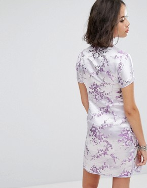 photo Mini Dress in Lilac Brocade with Diamante Trim by Reclaimed Vintage Inspired, color Lilac - Image 2