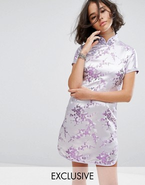 photo Mini Dress in Lilac Brocade with Diamante Trim by Reclaimed Vintage Inspired, color Lilac - Image 1