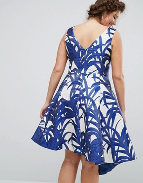 photo Palm Print Full Midi Dress by Coast Plus, color Blue - Image 2