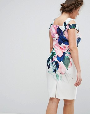 photo Flamenco Floral Printed Bardot Scuba Shift Dress by Coast Plus, color Multi - Image 2