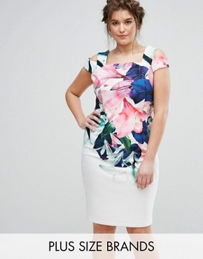 photo Flamenco Floral Printed Bardot Scuba Shift Dress by Coast Plus, color Multi - Image 1