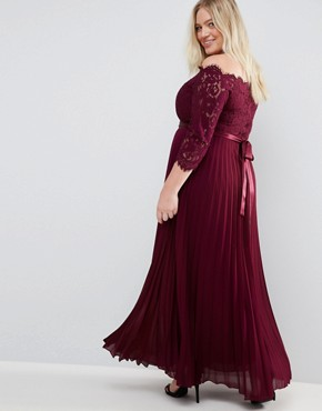 photo Imi Lace Bodice Maxi Dress with Pleated Skirt by Coast Plus, color Red - Image 2