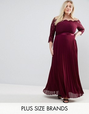 photo Imi Lace Bodice Maxi Dress with Pleated Skirt by Coast Plus, color Red - Image 1