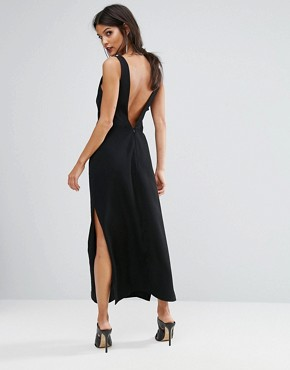 photo Luca Deep V-Back Maxi Dress by Finders Keepers, color Black - Image 2