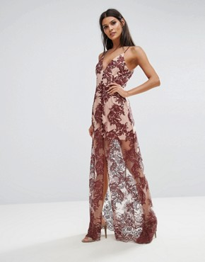 photo Spectral Lace Maxi Dress by Finders Keepers, color Berry - Image 1