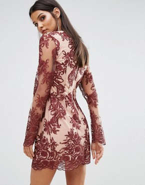photo Spectral Lace Long Sleeve Dress by Finders Keepers, color Berry - Image 2