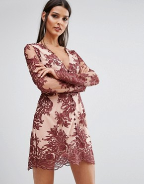 photo Spectral Lace Long Sleeve Dress by Finders Keepers, color Berry - Image 1
