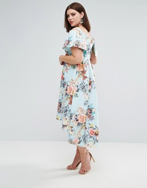 photo Deep Bardot Scuba Bright Floral Dip Back Midi Dress by ASOS CURVE, color Bright Floral - Image 2