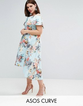 photo Deep Bardot Scuba Bright Floral Dip Back Midi Dress by ASOS CURVE, color Bright Floral - Image 1