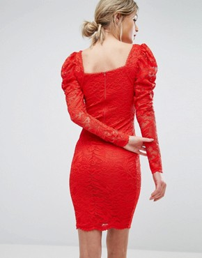 photo Lace Midi Dress by TFNC, color Red - Image 2