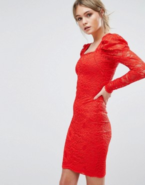 photo Lace Midi Dress by TFNC, color Red - Image 1