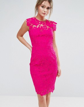 photo Midi Lace Dress with Scalloped Back by Paper Dolls, color Fuchsia - Image 2