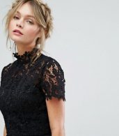 photo High Neck Lace Midi Dress with Tulle Skirt by Chi Chi London, color Black - Image 3