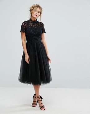 photo High Neck Lace Midi Dress with Tulle Skirt by Chi Chi London, color Black - Image 4