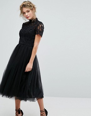 photo High Neck Lace Midi Dress with Tulle Skirt by Chi Chi London, color Black - Image 1