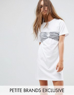photo Oversized T-Shirt Dress with Bra Top by Urban Bliss Petite, color White - Image 1