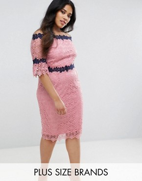 photo All Over Lace Bardot Dress by Paper Dolls Plus, color Pink - Image 1