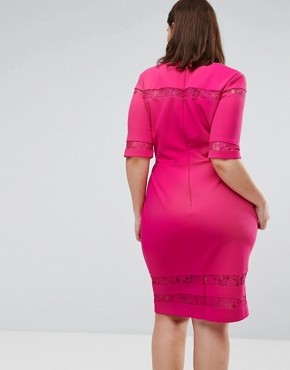 photo Lace Insert Pencil Dress by Paper Dolls Plus, color Fuchsia - Image 2