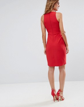 photo Sleeveless Dress with Corset Detail and Wrap Skirt by ASOS, color Red - Image 2