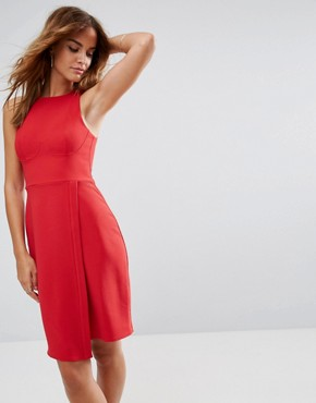 photo Sleeveless Dress with Corset Detail and Wrap Skirt by ASOS, color Red - Image 1