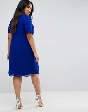 photo Embellished Placement Shift Dress by Maya Plus, color Cobalt - Image 2