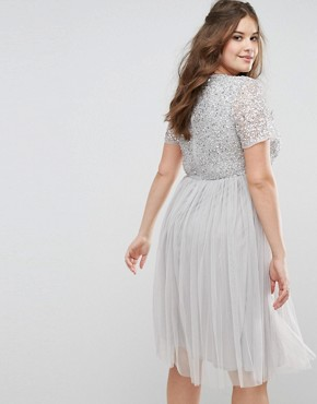 photo Cap Sleeve V-Neck Midi Dress with Tonal Delicate Sequins by Maya Plus, color Grey - Image 2