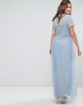 photo Embellished Yoke Maxi Dress with Cap Sleeve by Maya Plus, color Dusky Blue - Image 2