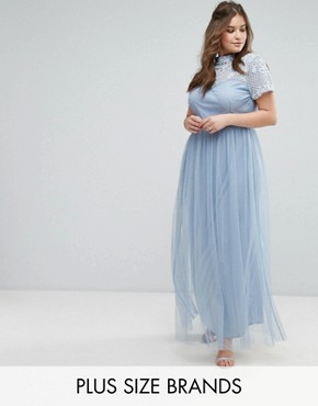 photo Embellished Yoke Maxi Dress with Cap Sleeve by Maya Plus, color Dusky Blue - Image 1