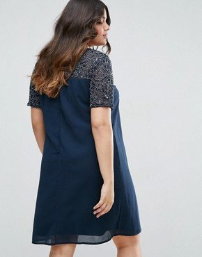 photo Shift Dress with Embellished Top and Sleeves by Maya Plus, color Navy - Image 2