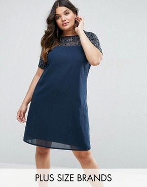 photo Shift Dress with Embellished Top and Sleeves by Maya Plus, color Navy - Image 1