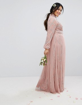 photo Floral Sequin Embroidered Maxi Dress with Tulle Skirt by Maya Plus, color Mauve - Image 2