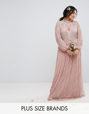 photo Floral Sequin Embroidered Maxi Dress with Tulle Skirt by Maya Plus, color Mauve - Image 1