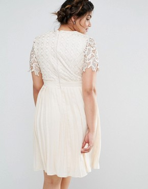 photo Premium Lace Overlay Midi Dress with Pleated Skirt by Little Mistress Plus, color Cream - Image 2