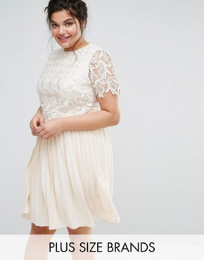 photo Premium Lace Overlay Midi Dress with Pleated Skirt by Little Mistress Plus, color Cream - Image 1