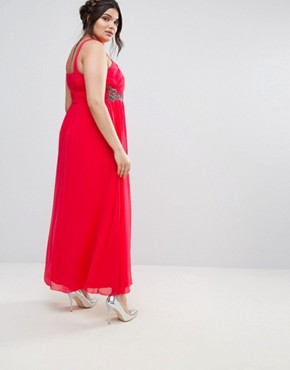 photo Cross Front Maxi Dress with Embellishment by Little Mistress Plus, color Red - Image 2